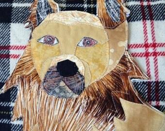 Golden shepherd dog pet portrait pillow