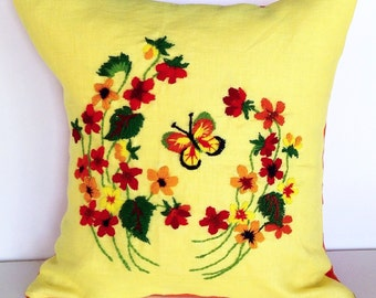 Vintage yellow butterfly crewel pillow cover 16x16