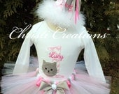 First Birthday Outfit - 1st Birthday Kitten Tutu Dress - Monogrammed Shirt - Birthday Shirt and Tutu - Baby Bodysuit Tutu