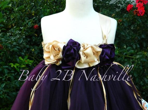 Flower Girl Dress in Plum and Gold Plum Dress Tulle Dress Tutu Dress All Sizes Girls