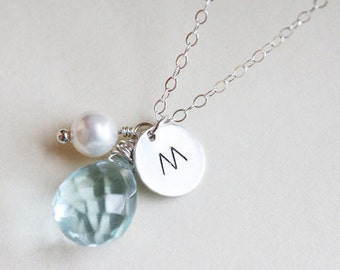 Personalized Aquamarine Necklace - Birthstone  Necklace - Initial Necklace - March Birthstone - Sterling Silver - Bridal Jewelry