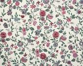 1940s Vintage Wallpaper by the Yard - Burgundy Pink Blue and Green Chintz Floral