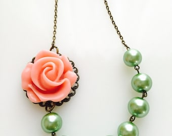 CLEARANCE Asymmetrical Spring Pink Rose Necklace