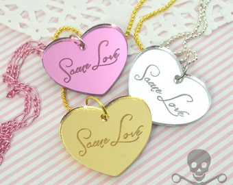 SAME LOVE- Your Choice Gold Pink or Silver- Laser Cut Acrylic Charm- Engraved Necklace