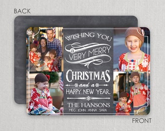 Chalkboard Christmas Photo Card with multi-photo layout - 2 sided printing! Vintage chalkboard design