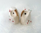 Christmas Owl Figurines, White Ceramic Owls with Red and Green Spots