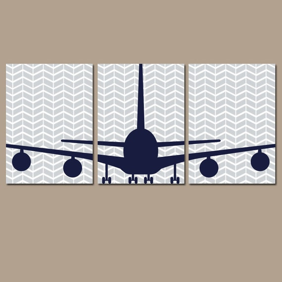 Nursery Wall Decor Transportation : Airplane wall art canvas or prints baby boy nursery by