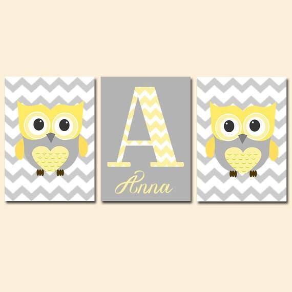 Yellow Gray Owl Baby Girl Nursery Wall Art Yellow Owl By