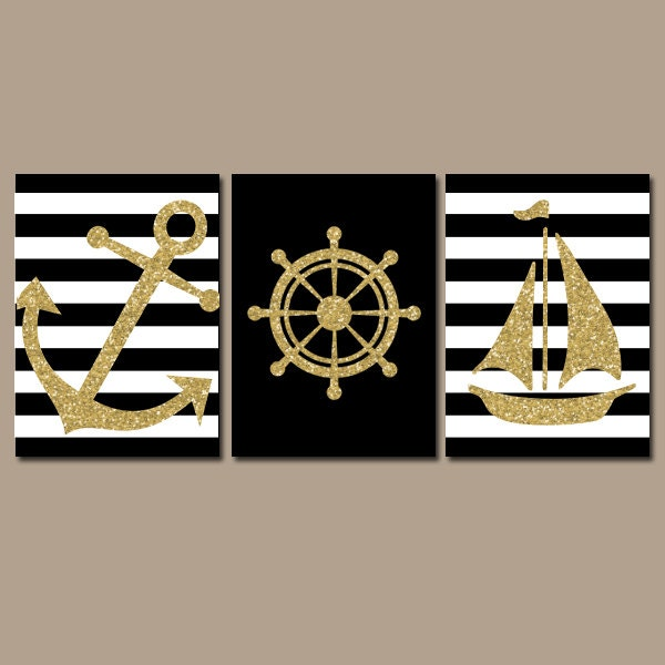 GLITTER Nautical Wall Art Nursery Bathroom Artwork Black Gold