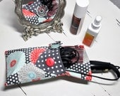 Flat or Curling Iron Fabric Case with Coordinating Hair Clip
