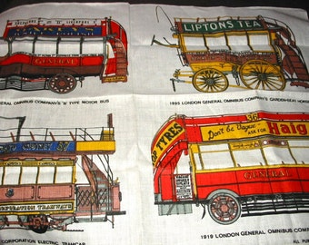 Vintage London Bus Omnibus Tramcar Old Transport Souvenir  Linen Tea Towel by Ulster