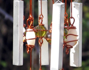 October Birthstone Yellow Opal Windchime with Recycled Aluminum and Copper Wrapped Amber Yellow & Opal White Glass Marbles