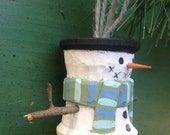 Hand Carved Snowman Vintage Sewing Spool Christmas Ornament, Primitive Snowman, Coastal Christmas