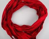 Sari silk Ribbon Recycled Silk Sari Ribbon seamed ribbon red