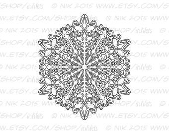 Mandala Printable Coloring Page - Instant Digital Download JPG - Mandala Doodle 4 Digi Stamp
