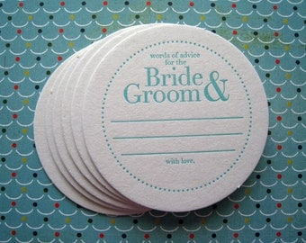 Letterpress Coaster Set - big words advice bride & groom (set of 30)