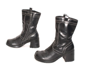 size 8.5 GRUNGE black vegan leather 80s 90s CHUNKY PLATFORM zip up ankle boots