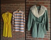 Vintage Dress Coat Lot-- VICKY VAUGHN F/W Fall Winter Brights Primary Yellow Blue Green Stripes Faux Fur Layers-- Wholesale Resale