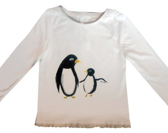 Girls Penguin Tee Shirt / Bird T-Shirt / Girls  Top / Children's Clothes / Baby Shirt / Christmas Top
