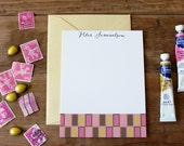Mod Rectangle Pattern Flat Notes / Pinks - Set (10)