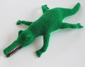 Crocodile Stuffed Animal, Handmade Plush Alligator