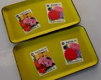 Pair of vintage trays with Burpee flower seed packet motifs