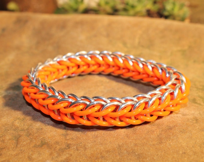 Glow in the Dark Full Persian Chainmaille bracelet - Orange and Aluminum