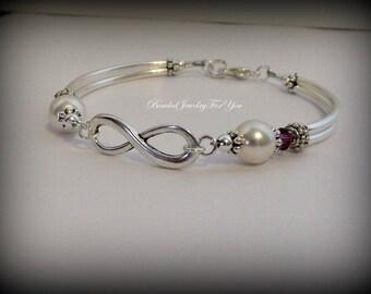 Bridesmaid Infinity Bracelet: Infinity Wedding Jewelry, Bridesmaid Jewelry, Wedding Bracelet, Friendship Bracelet, Bridal Party Gift, Custom