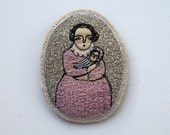 woman and child - an embroidery portrait brooch - wearable art