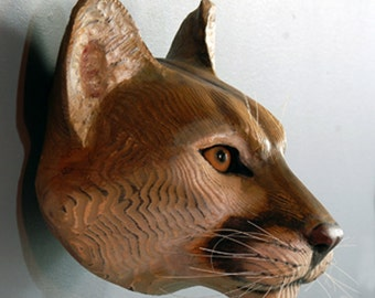 Mountain Lion cougar wood sculpture Jason Tennant