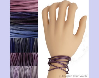 Custom Purple LEATHER Cord Wrap Bracelet up to 72 inches long - choose shade, diameter, length, clasp color - 1.5 mm,  2 mm or 3 mm