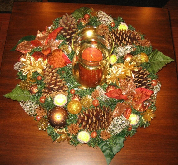 Holiday candle centerpiece gold rust green by elibet on etsy