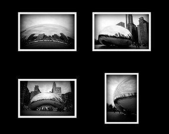 Chicago Bean - 3.5 x 5 photo cards set prints with blank cards and envelopes, black and white photography urban architecture art sculpture