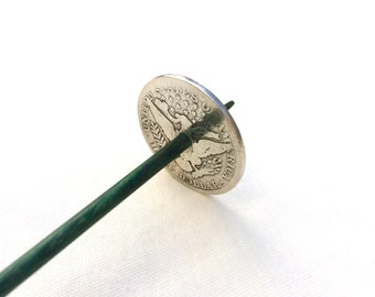 Silver Coin Takhli Support Spindle Barber Lady Half Supported Spinning of Handspun Lace Yarn or Thread - like Russian or Tibetan or Tahkli