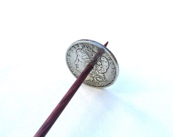 Large Silver Morgan Dollar Coin Takhli Support Spindle for Supported Handspun Lace Yarn Thread - like Russian or Tibetan or Tahkli