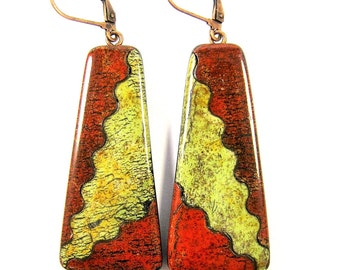 Polymer Clay Earrings - Fabulous Faux Collection - Southwestern Landscapes Collection - Red Mountain Thunder Earrings
