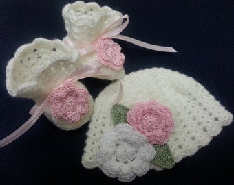 Crochet Hat and Booties Victorian White and Pink Roses 0-3 Months Newborn or Reborn Doll Baby Girl Shower Gift Christening Baptism