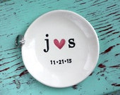 Engagement Ring Dish with Heart and Initials, Custom Ring Dish with Initials and Plain Heart, Personalized Ring Dish with Heart,