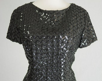 Vintage 1950's Black Sequined Top Bombshell Pin-up Fitted L