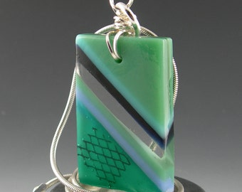 Modern Geometric Striped Fused Glass Pendant with Copper Metal Inclusions and Sterling Silver Wire Wrapped Bail in Sage Teal Turquoise