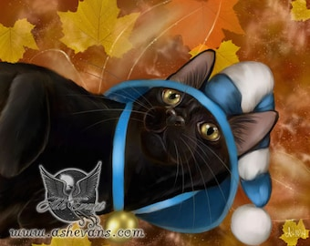Fall black cat leaves fantasy fairy art print