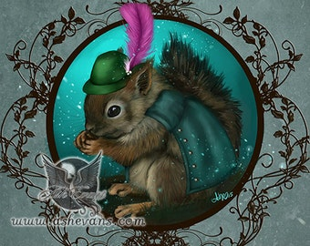 Ash Evans red squirrel fantasy woodland art print