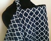 Nursing Cover- Navy Blue Lattice