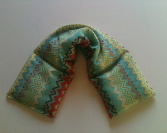 Heat Pack or Cold Therapy Wrap/ Neck Shoulder/ Flax Seed,Mint, Lavender -Zig Zag