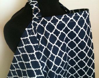 Nursing Cover, Breastfeeding Feeding Cover up, Nursing cover up,  Navy Blue Lattice