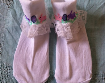 Easter Hand Painted Socks Bunnies Peeps Eggs Toddler Size
