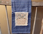 Spring Pansies Kitchen Towel, Flowers, Hand Stitched, Kitchen Towel, Blue