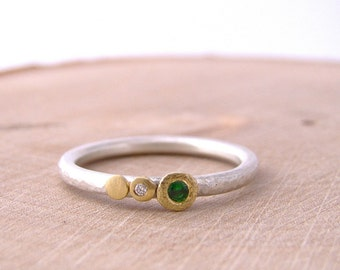 Gold Green Garnet Tsavorite Diamond Silver Stackable Ring Dot Hammered Band 18 Karat Gold Luxe Alternitive Bride Artisian Jewelry Metalsmith