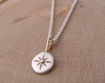 Explore Compass Pendant Silver Star Necklace Gold Accent Disc Travel Necklace Talisman Wanderluster Protection Charm Necklace