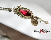 Antique Bronze Red Crystal Mocking Bird Charm Necklace - Personalize by Adding YOUR Letter Charm